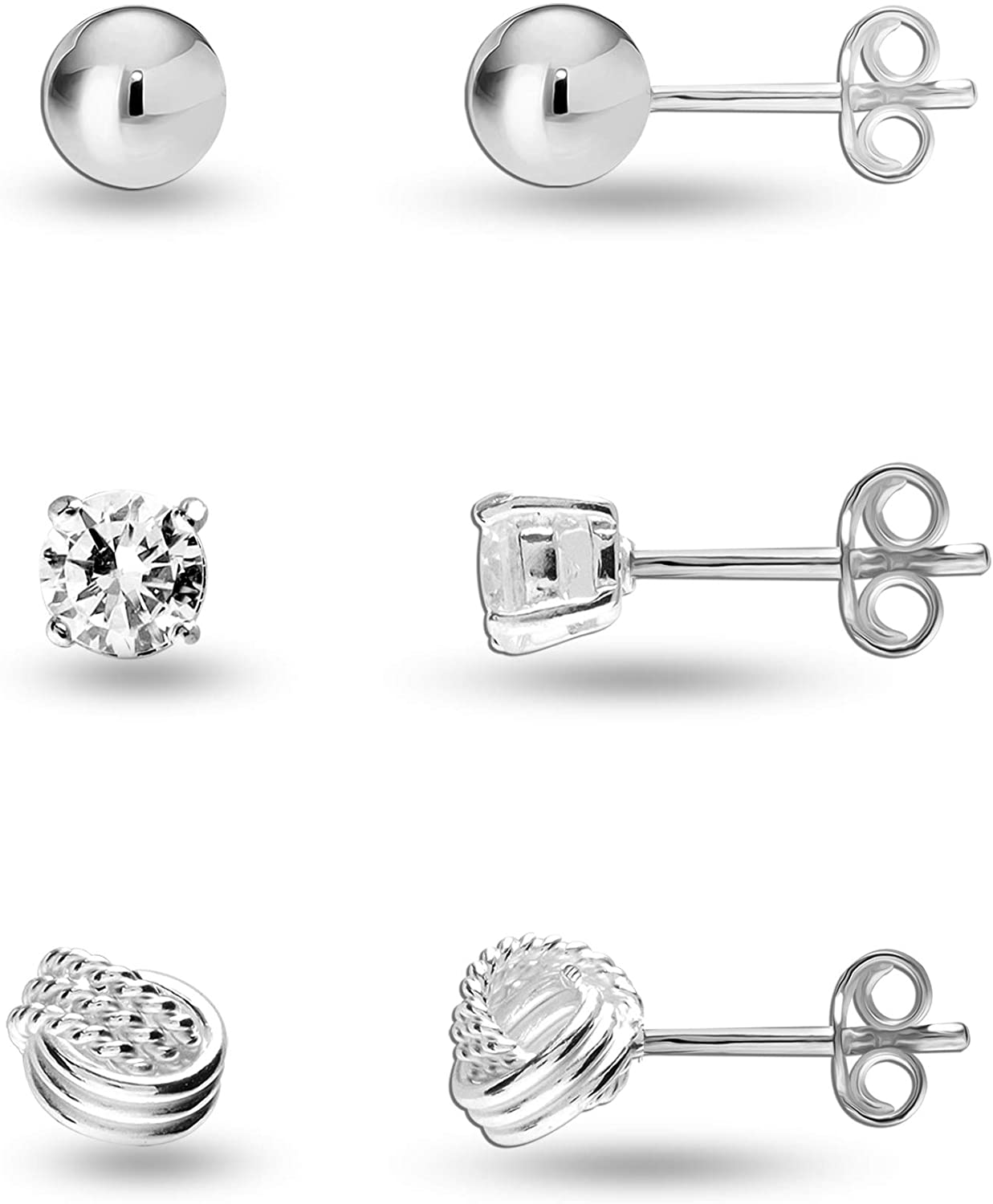 Small Set of 3 Pairs 925 Sterling Silver Ball Star Moon Cross Heart Triangle Bar CZ Love-Knot Stud Earrings for Girl Teen