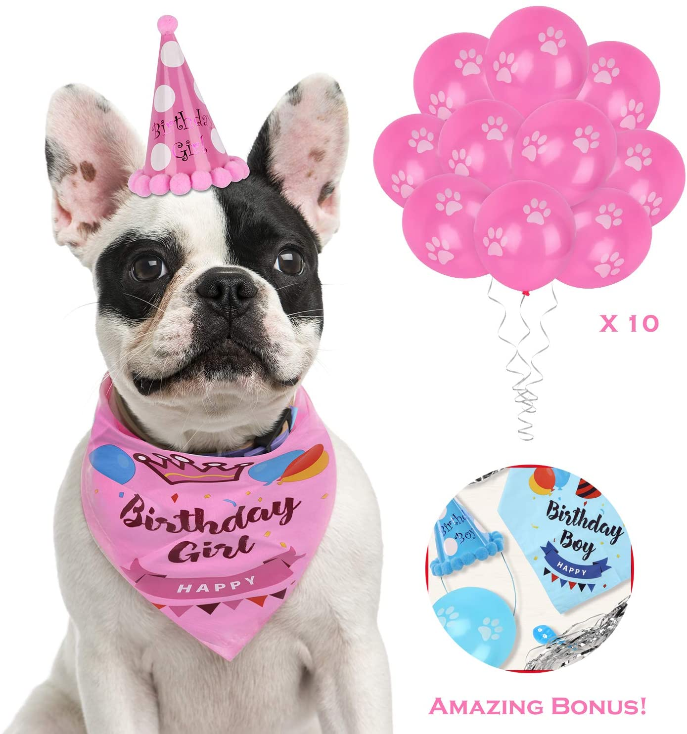 Hake's Toys Dog Birthday Bandana  Boys and Girls  2 Bonuses Set  100% Cotton Tie for Large Small Dogs  Best Pet Birthday Party Supplies