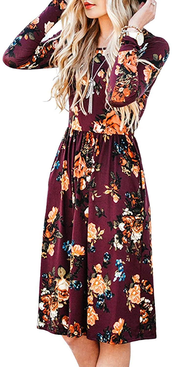 ZESICA Womens Long Sleeve Floral Pockets Casual Swing Pleated T-Shirt Dress