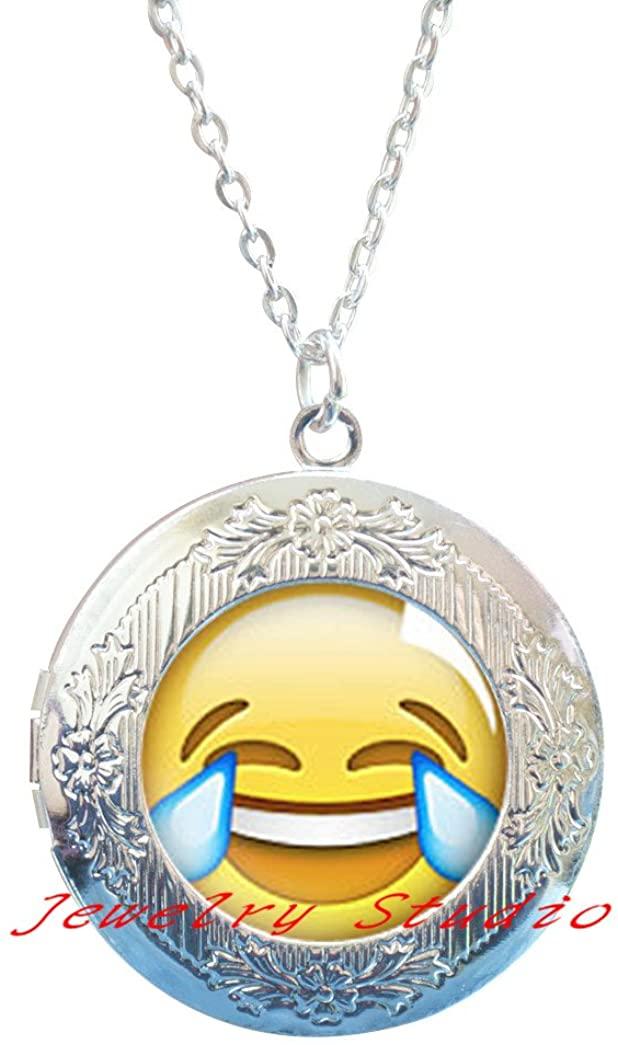 Laughing Emoji Locket Pendant,Emoticon Locket Necklace Jewelry Silver Plated Locket Pendant, Modern Locket Necklace,Fun Jewelry-HZ00259
