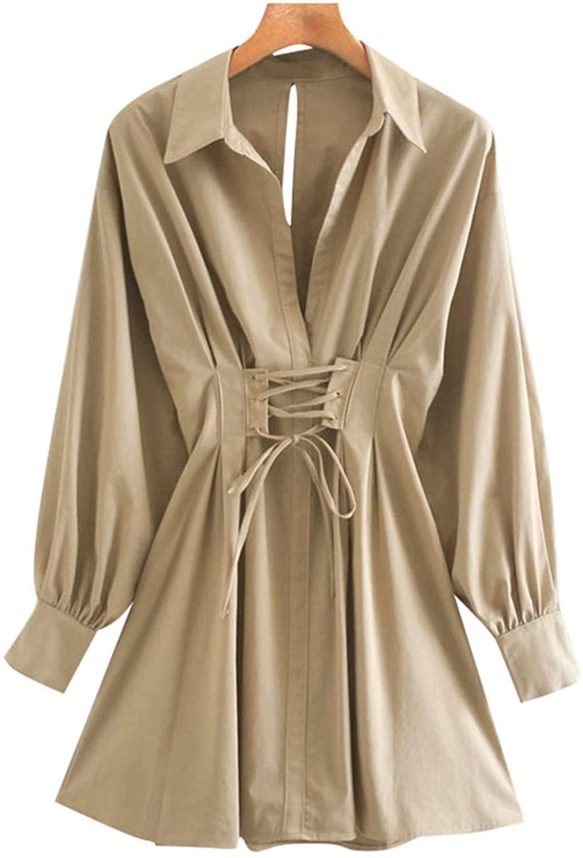 Women 2020 Fashion with Drawstring Pleated Mini Dress Vintage Long Sleeve Back Zipper