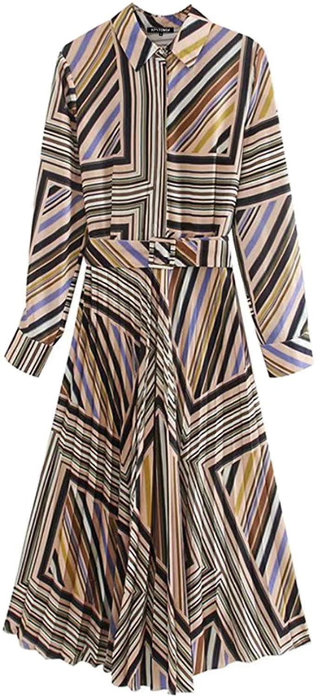 Women 2020 Chic Fashion Office Wear Striped Pleated Midi Dress Vintage Long Sleeve with Belt