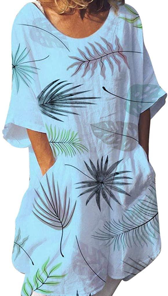 TIANMI Women Boho Summer Prints Pockets Short Sleeve Dress Beach Maxi Dress