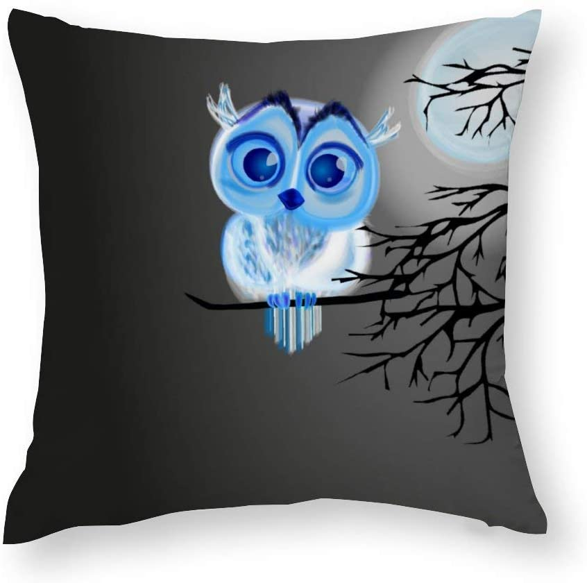 Blue Baby Owl On Moon Night Background Cotton Throw Pillow Covers Case Cushion Pillowcase with Hidden Zipper Closure for Sofa Bench Bed Home Decor 22