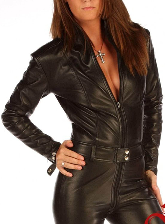Skin Tight Suit Black Leather Playsuit Jumpsuit Pauletta