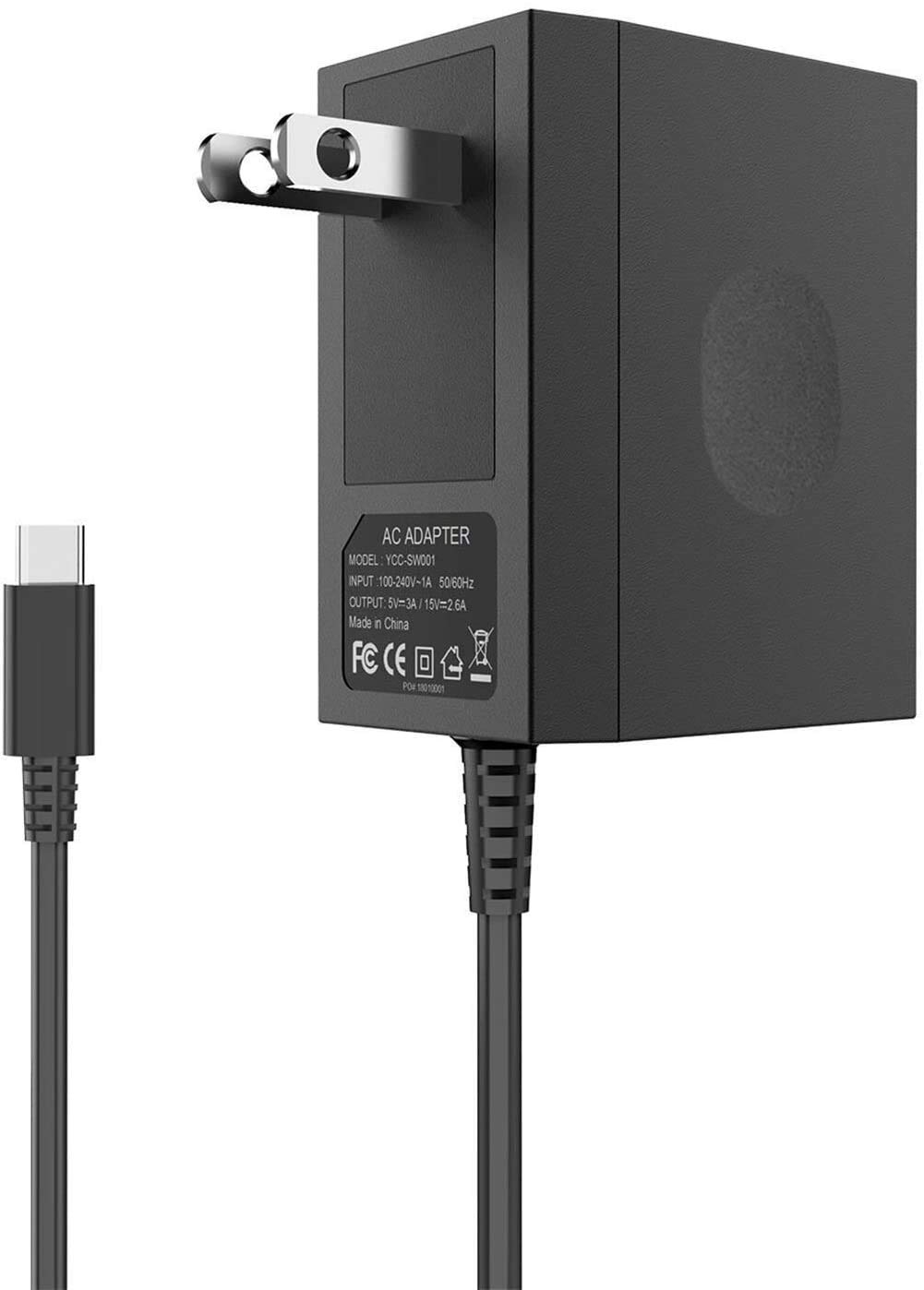 AC Adapter Charger for Nintendo Switch,Switch Charger AC Power Supply Adapter 15v/2.6A Faster Charging Portable Charger for Switch Dock /Switch Lite and Pro Controller (Support TV Mode)