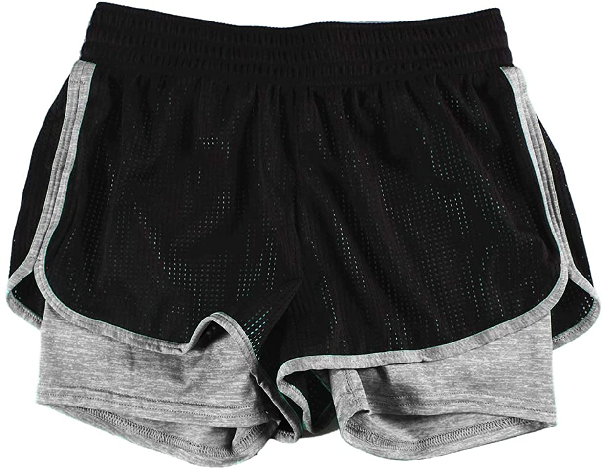 CATERTO Women's Active Mesh 2 in 1 Run Sport Shorts Quick Dry Relaxation Style