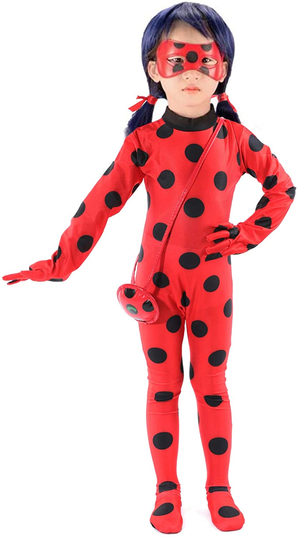 SPUNIQUE Kids Spandex Ladybug Jumpsuit Halloween Little Beetle Suit Cosplay Costume with Wig,Yoyo,Eyemask