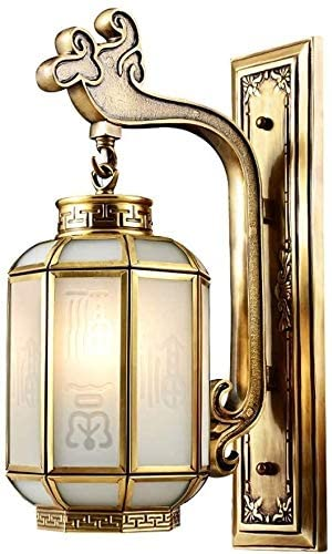 DEWUFAFA Wall lamp Bedroom Bedside Classical Chinese Style Pure Copper Lamp,Glass Lampshade Retro Farmhouse Wall Lights Antique Rust Wall Lamp Bedside lamp