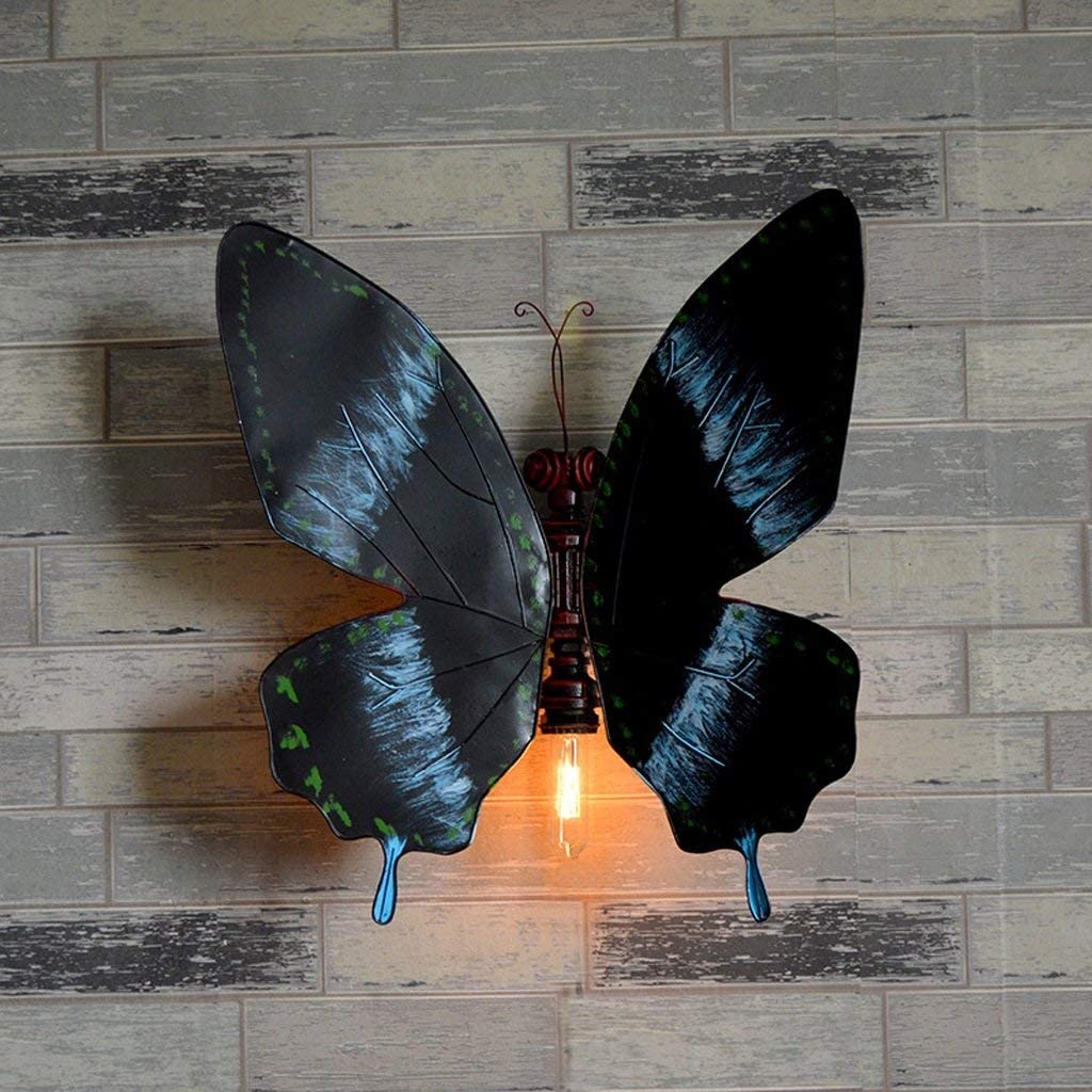 Iron Retro Elephant Butterfly Water Pipe Decorative Wall lamp Bar barn Cafe Restaurant Decorative Props DIY Tube Wall Light Wings can Freely Adjust The Angle Lighting Luminaire High: 56cm