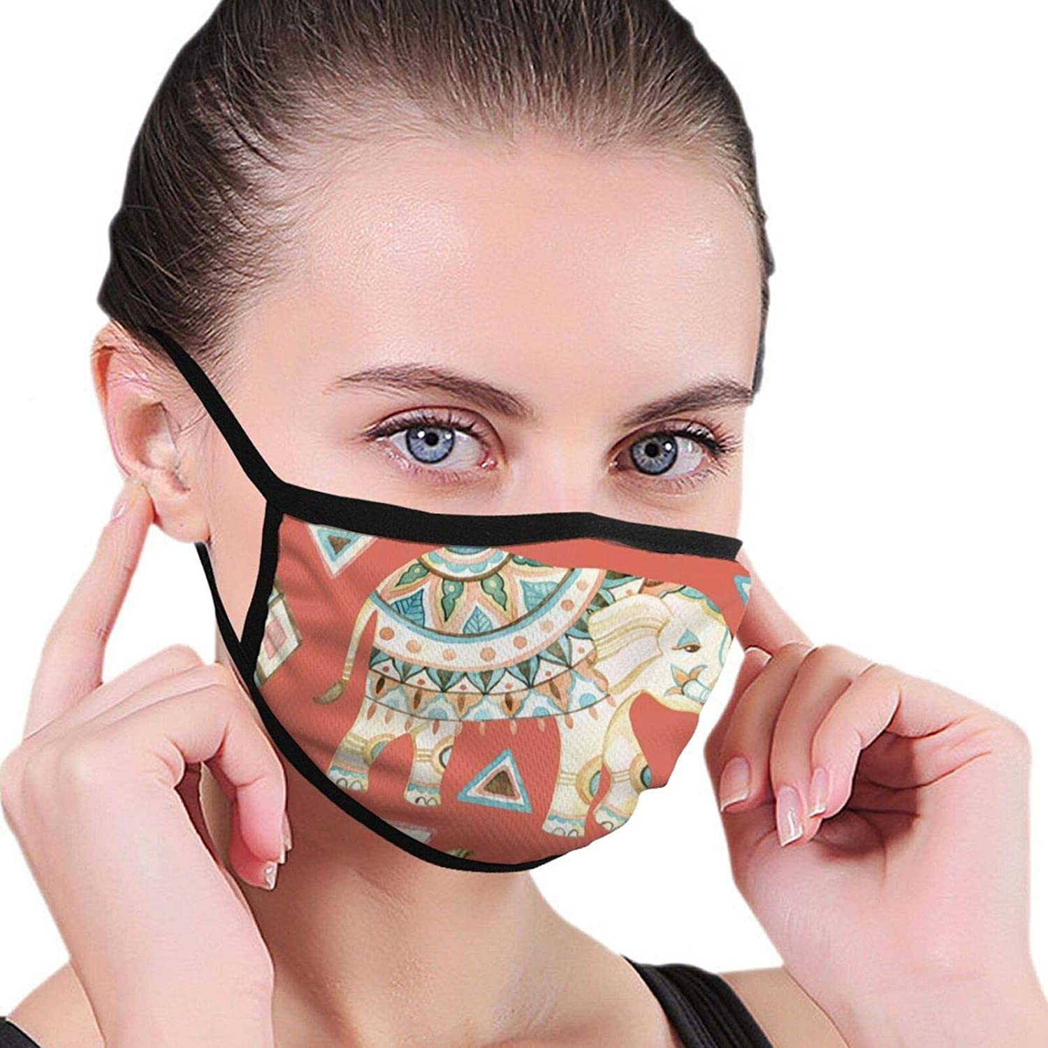Bandana Balaclava Face Mouth Cover Mask, Indian elephant Neck Gaiter Face Shade