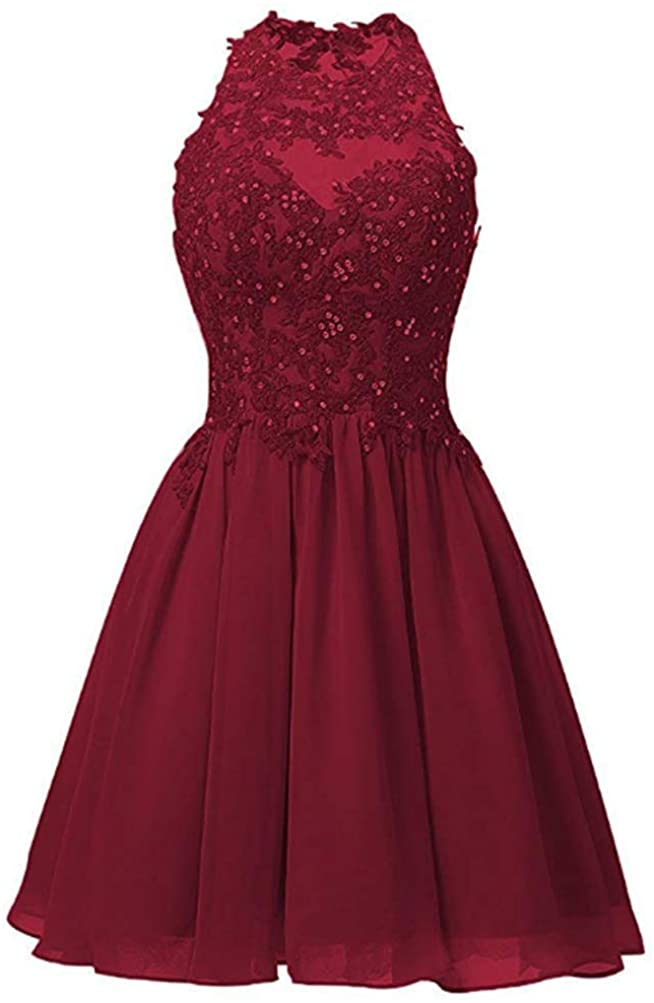 FWVR Women's Appliques Short Prom Dresses 2020 Chiffon Homecming Dresses for Juniors Beaded