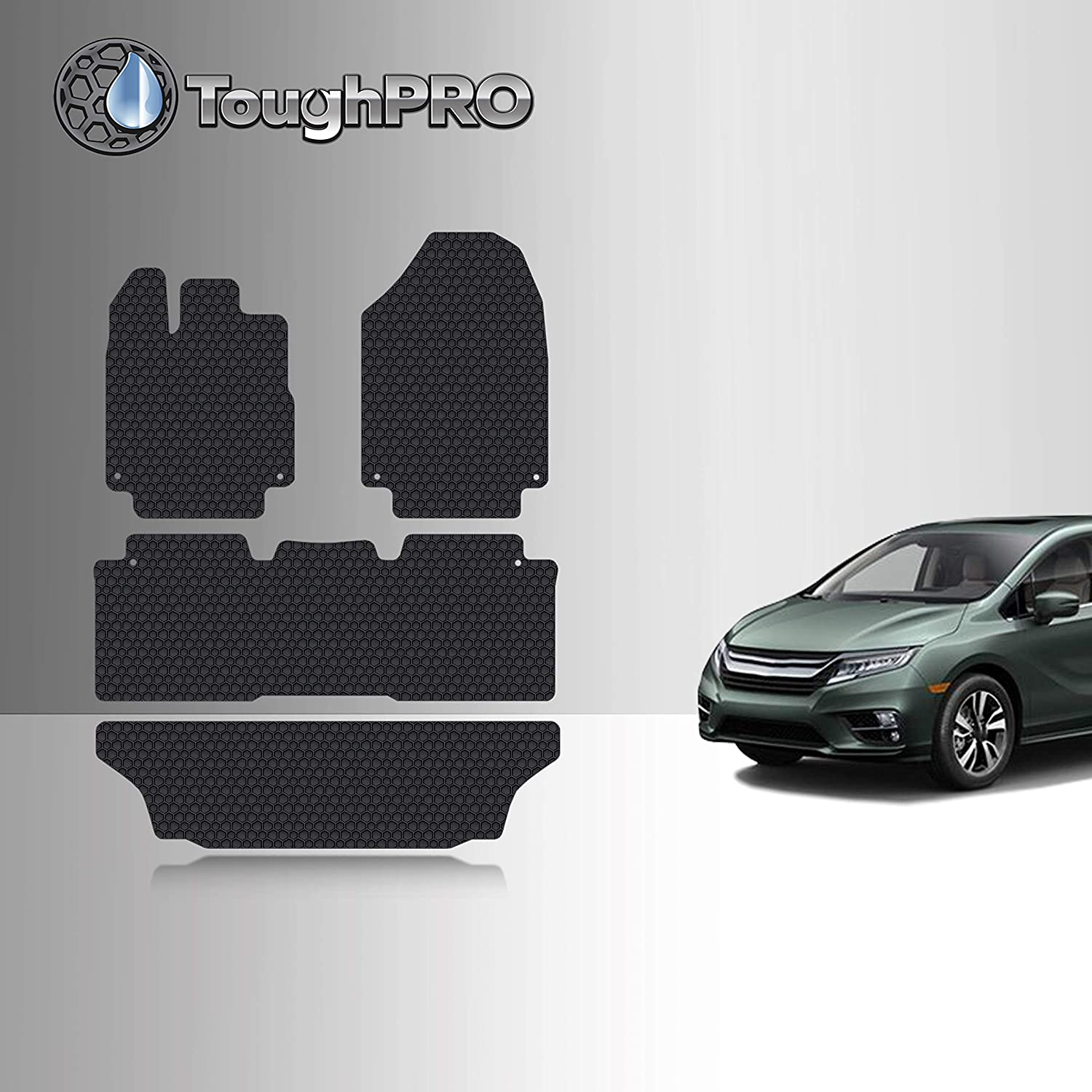 TOUGHPRO Floor Mat Accessories Set 1st + 2nd + 3rd Row Compatible with Honda Odyssey - All Weather - Heavy Duty - (Made in USA) - Black Rubber - 2018, 2019, 2020, 2021