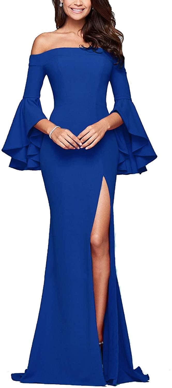 Womens Ruffle Bell Sleeve Off Shoulder High Split Floor Length Long Party Dress