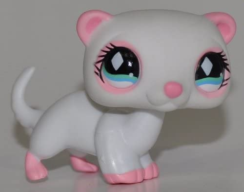 Ferret #520 (White, Aqua Eyes, Pink Feet & Nose) - Littlest Pet Shop (Retired) Collector Toy - LPS Collectible Replacement Single Figure - Loose (OOP Out of Package & Print)