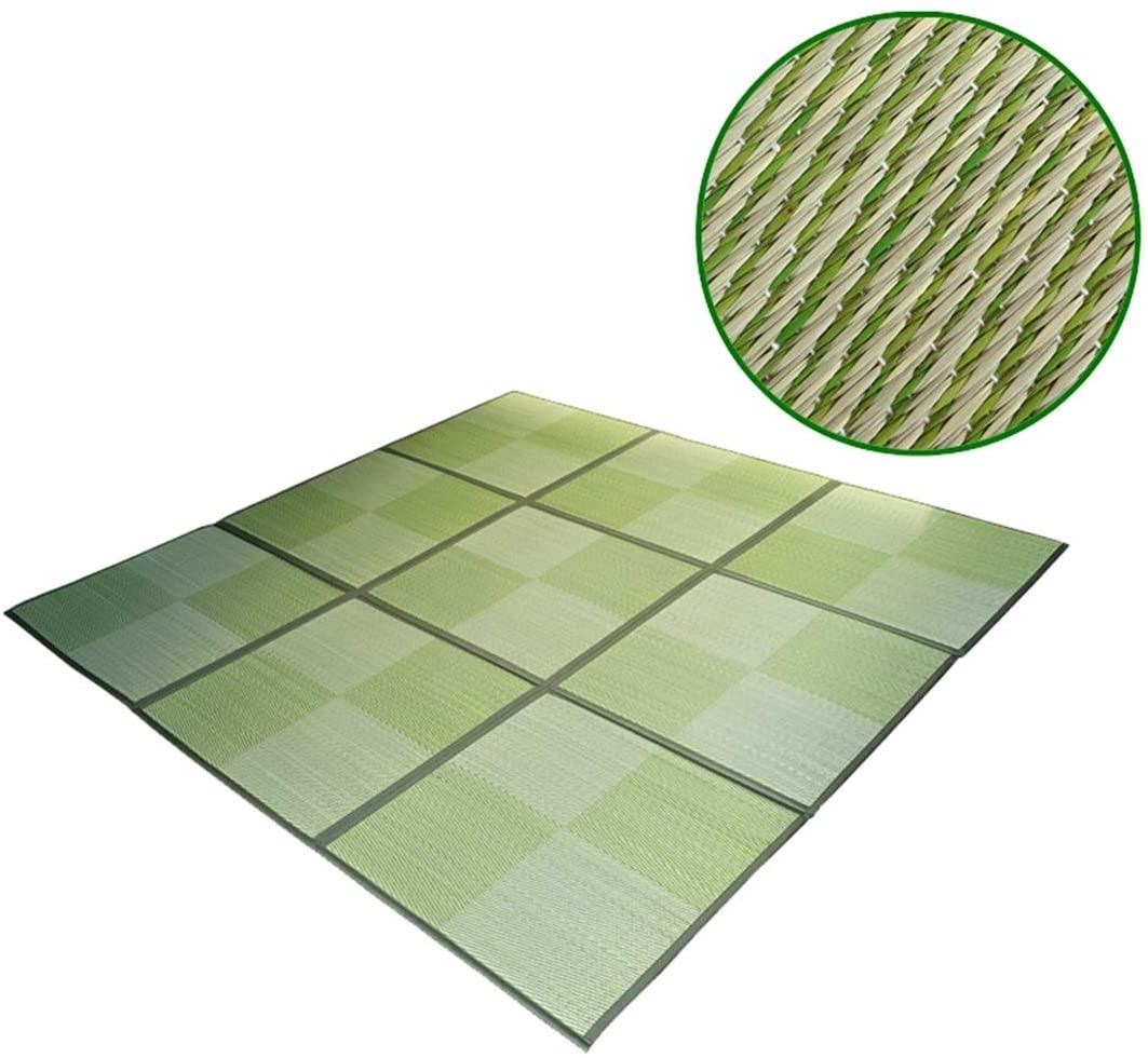 Insun Non Slip Folding Summer Breathable Igusa Memory Foam Japanese Tatami Mat Sleeping Mattress for Living Room,Green A,8.6'x6.4'