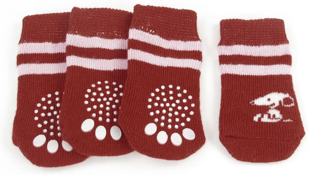 Jardin 4-Piece Paw Print Non-Slip Bottom Warm Pet Dog Puppy Socks, Medium, Red/Pink