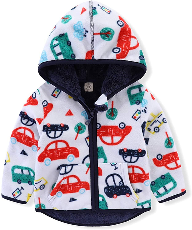 Toddler Polar Fleece Jacket Hooded Coat Zipper Autumn Winter Long Sleeve Thick Warm Outerwear for Baby Girls Boys