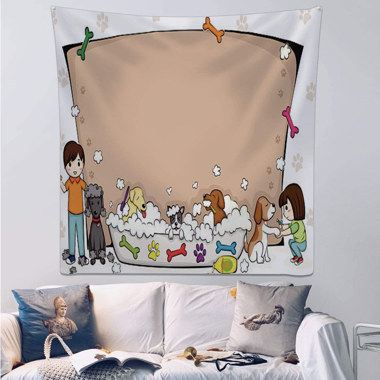 C COABALLA Pets Grooming Salon Banner - - Dog,Wall Hanging Tary Pet Salon for Decor 39.3x39.3inch