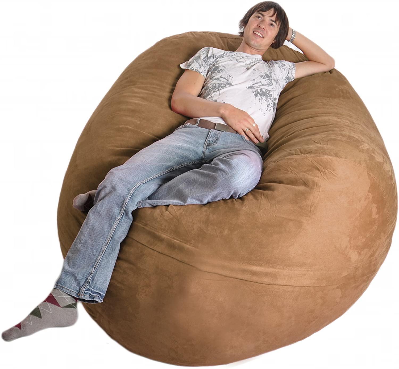 SLACKER sack 6-Feet Foam Microsuede Beanbag Chair, X-Large, Earth Brown