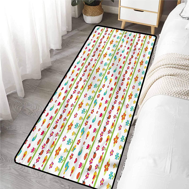 Bathroom Floor Mat 20 x 59 Inch, Kids Birds Ladybugs Flowers Non-Slip Carpet
