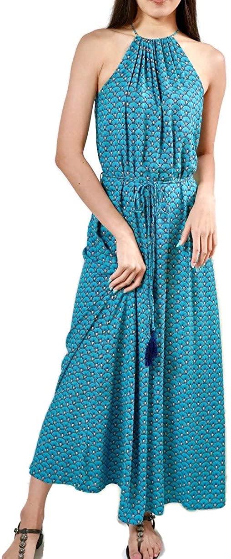 Kesornphusa Women's Halter Strap Tassel Maxi Long Dress Blue