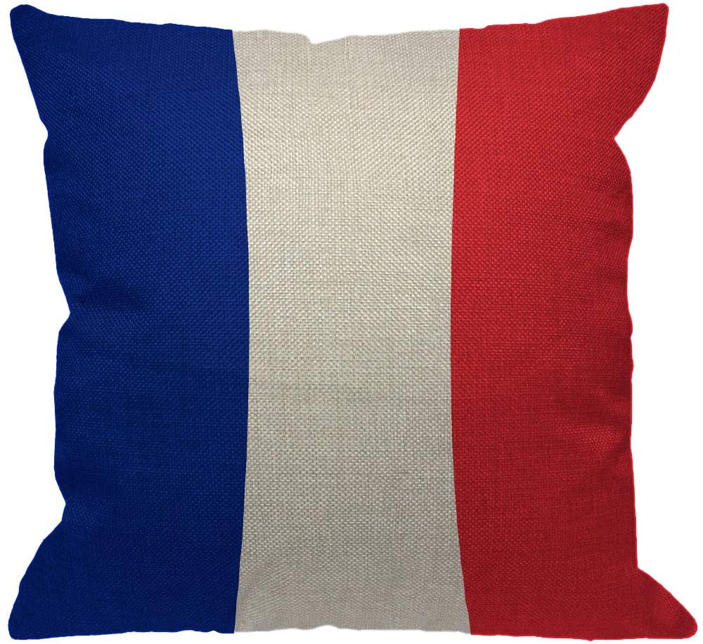 HGOD DESIGNS Flag of France Throw Pillow Cover,Europe French Banner Patriotic Flag Blue White Red Decorative Pillow Cases Cotton Linen Square Cushion Covers for Home Sofa Couch 18x18 inch