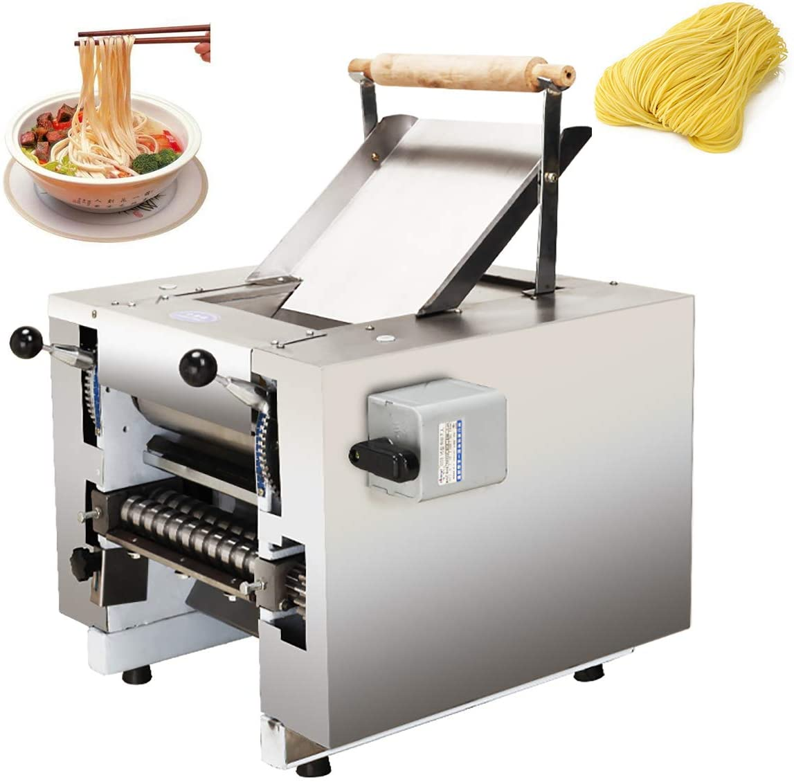 NEWTRY Electric Commercial Pasta Maker Machine Dumpling Dough Noodle Skin Maker 66lb/h Multi-function Noodle Pasta Spaghetti Roller Pressing Machine 550W (With additional blade contact us)