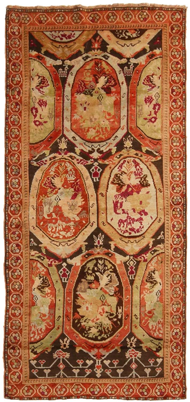 Antique Karabagh Magenta and Brown Wool Runner