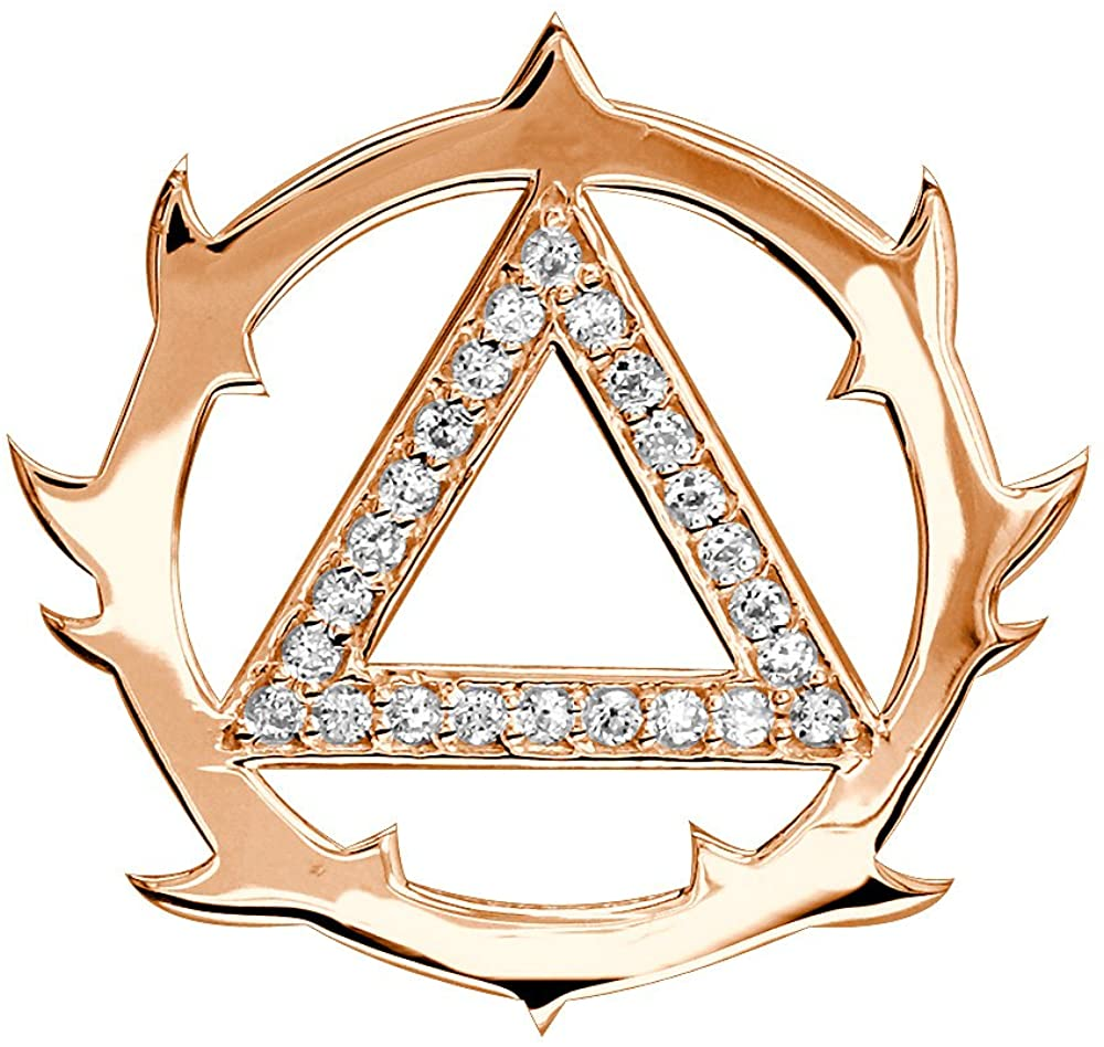 SZIRO Tribal Look Diamond AA Alcoholics Anonymous Sobriety Pendant, 0.40CT in 18k Pink, Rose Gold