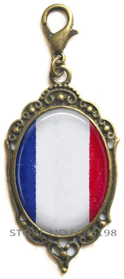 French Flag Zipper Pull, Flag of Frence Lobster Clasp French Jewelry Flag Jewelry Traveler's Gift Travel Gift,N302