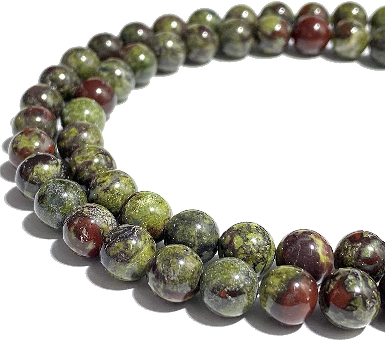 [ABCgems] South-African Dragon Blood Jasper (Gorgeous Matrix- Mohs Hardness 7) 8mm Smooth Round Natural Semi-Precious Gemstone Healing Energy Beads