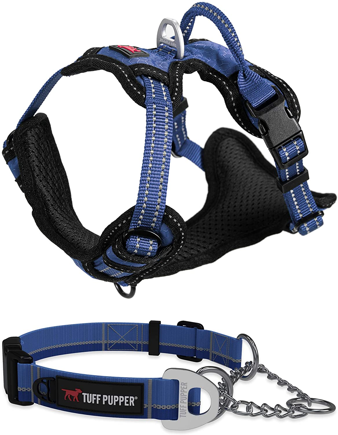 Medium (16 - 24) Reaction Martingale Collar for Dogs and Large Midnight Blue Metro - No Pull Dog Harness Bundle