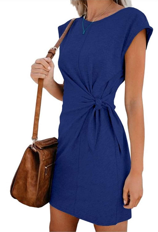 YGpzd Women Casual Sleeveless Round Neck Tie Front Sweater Dress Mini Royal Blue XL