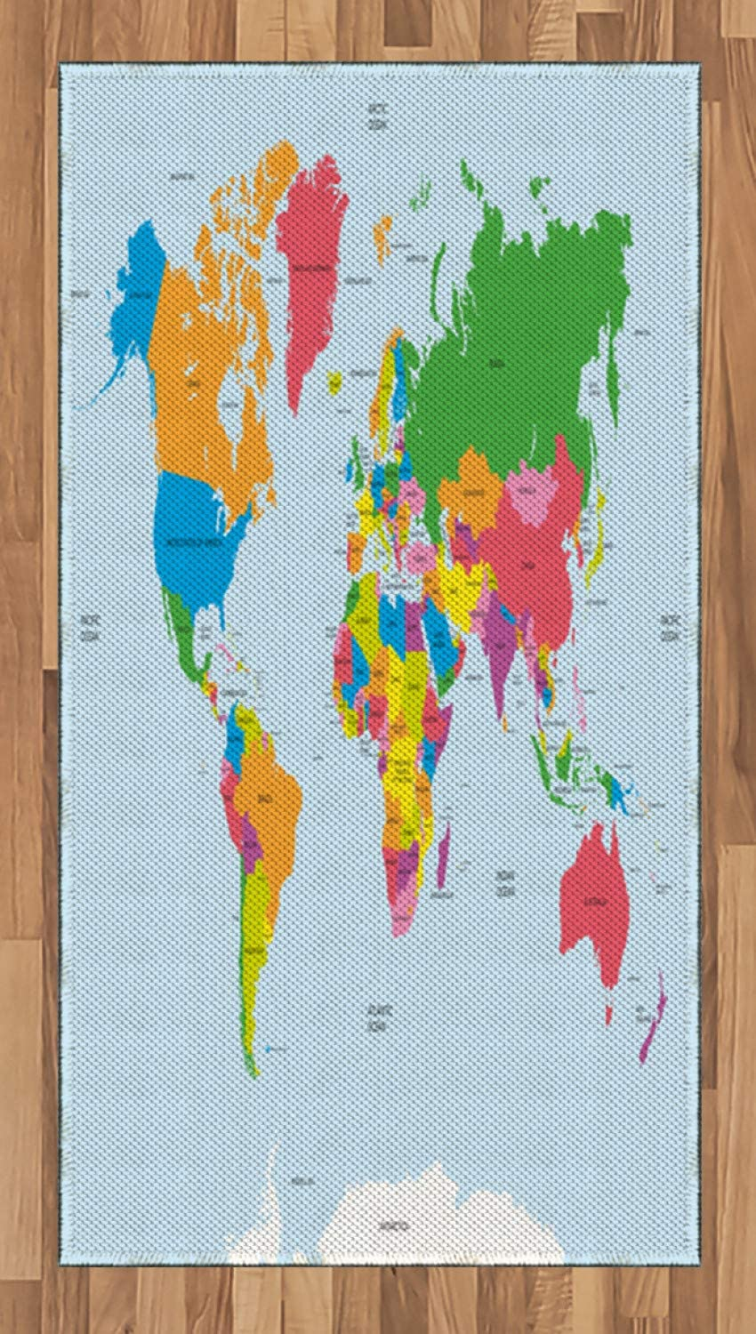 Ambesonne Map Area Rug, Classical Colorful Map of World in Political Style Travel Europe America Asia Africa, Flat Woven Accent Rug for Living Room Bedroom Dining Room, 2.6 x 5 FT, Multicolor