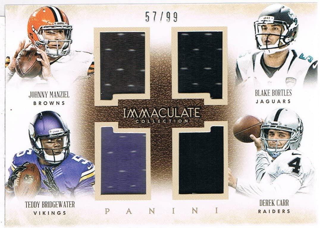 2014 Immaculate Collection Quad Jerseys #1 Blake Bortles/Derek Carr/Johnny Manziel/Teddy Bridgewater #d 57/99 RC Rookie