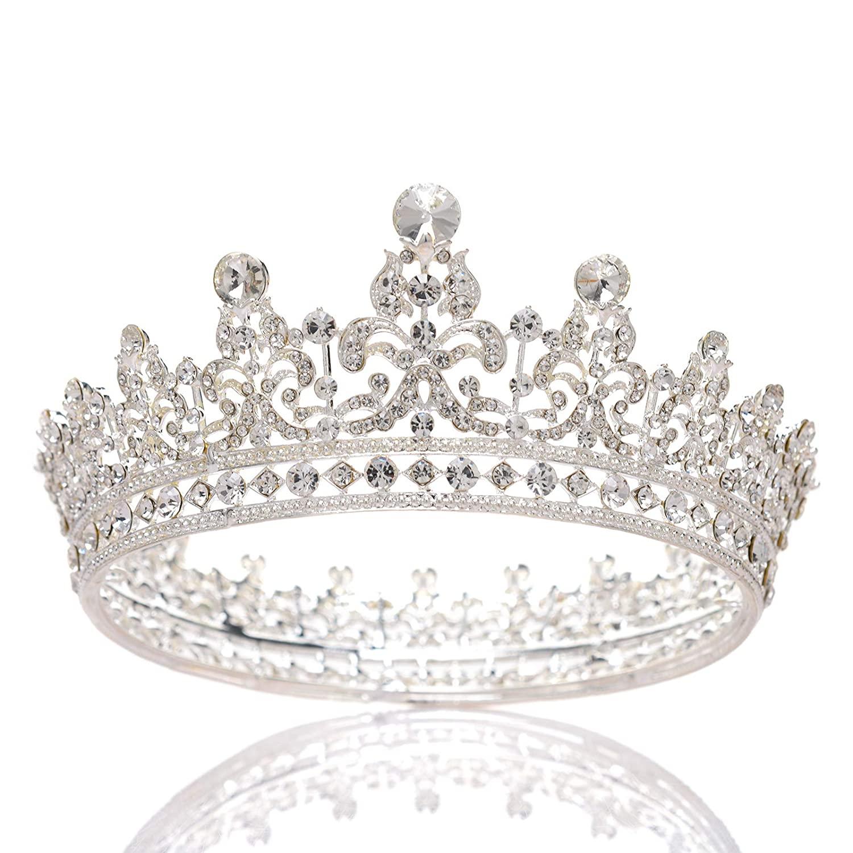 SWEETV Rhinestone Wedding Queen Crown for Women - Crystal Pageant Tiara Headband, Princess Crown Hair Accessories for Bride, Bridal Party Birthday Headpieces, Silver