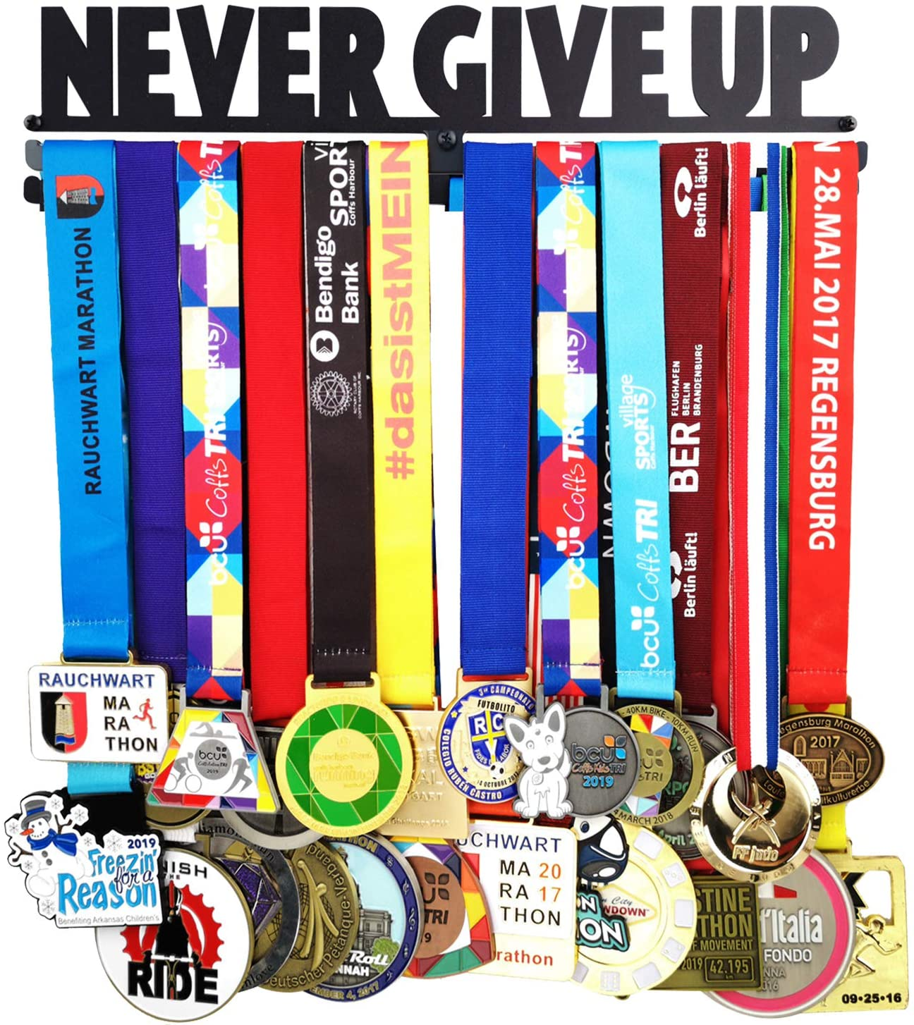 Lapetale Fashion Medal Hanger Holder Display Rack-Never GIVE UP 2 Lines with Gift Box Package Medal Hanger Awards Holder Display Rack for 60 Medals Use for All Sports Black Steel Medal Gift Box
