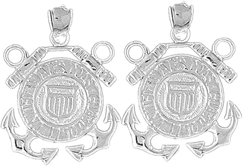 Jewels Obsession Military Earrings | 14K White Gold United States Navy Logo Lever Back Earrings - Made in USA
