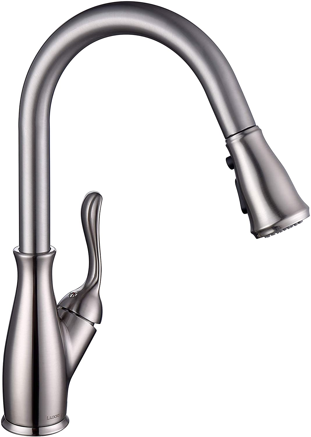 Luxice Faucet Pull Down Kitchen Faucet with Pull Out Sprayer, Kitchen Sink Faucet with Deck Plate, Faucets for Kitchen Sinks, Single-Handle, Pull Down Spray Head, Stainless Steel Brushed Nickel