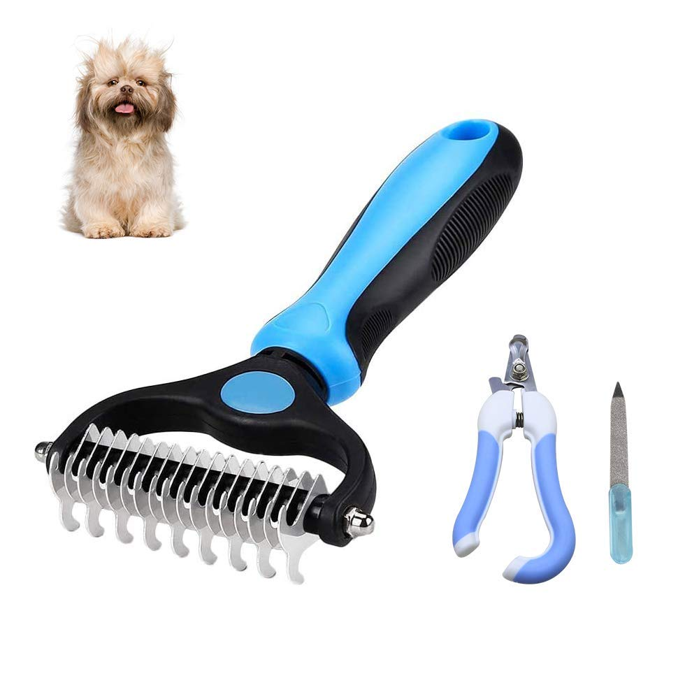 Dog Brush Double Sided Pet Grooming Brush + Pet Nail Clippers, SZXBGGU Shedding and Dematting Undercoat Rake Comb for Dogs and Cats