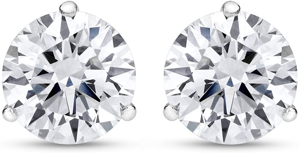 Natural Round Brilliant Solitaire Diamond Stud Earrings for Women 3 Prong Martini Cocktail Push Back (I-J Color I1 Clarity)