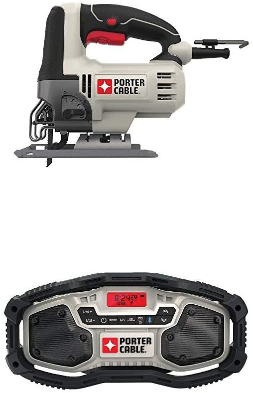 PORTER-CABLE PCE345 6-Amp Orbital Jig Saw with PORTER-CABLE PCC771B Bluetooth Radio