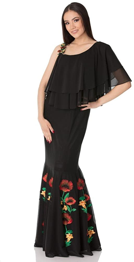 Liza Panait Designer's Black Tull Dress with Embroidery T-88