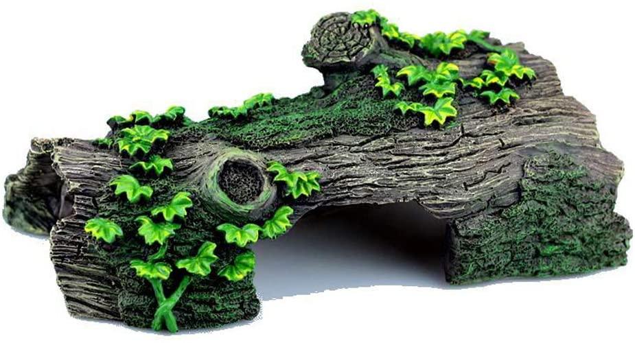 YGZJ Fish Tank Ornament, Aquarium Landscaping Tree Cave Nest Shelter, Climbing Pet Spider Snake Lizard Turtle Cave, Betta Fish Ornament,L