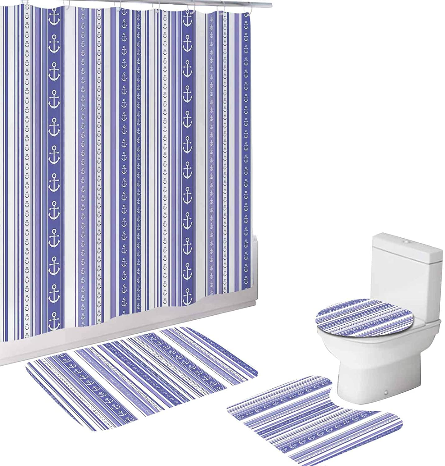 Striped Shower Curtain Sets,Anchor Icons Tape Motifs Sea Life,Shower Curtains with 12 Hooks,Waterproof Bath Curtain (72x72 inch) Lilac Purple