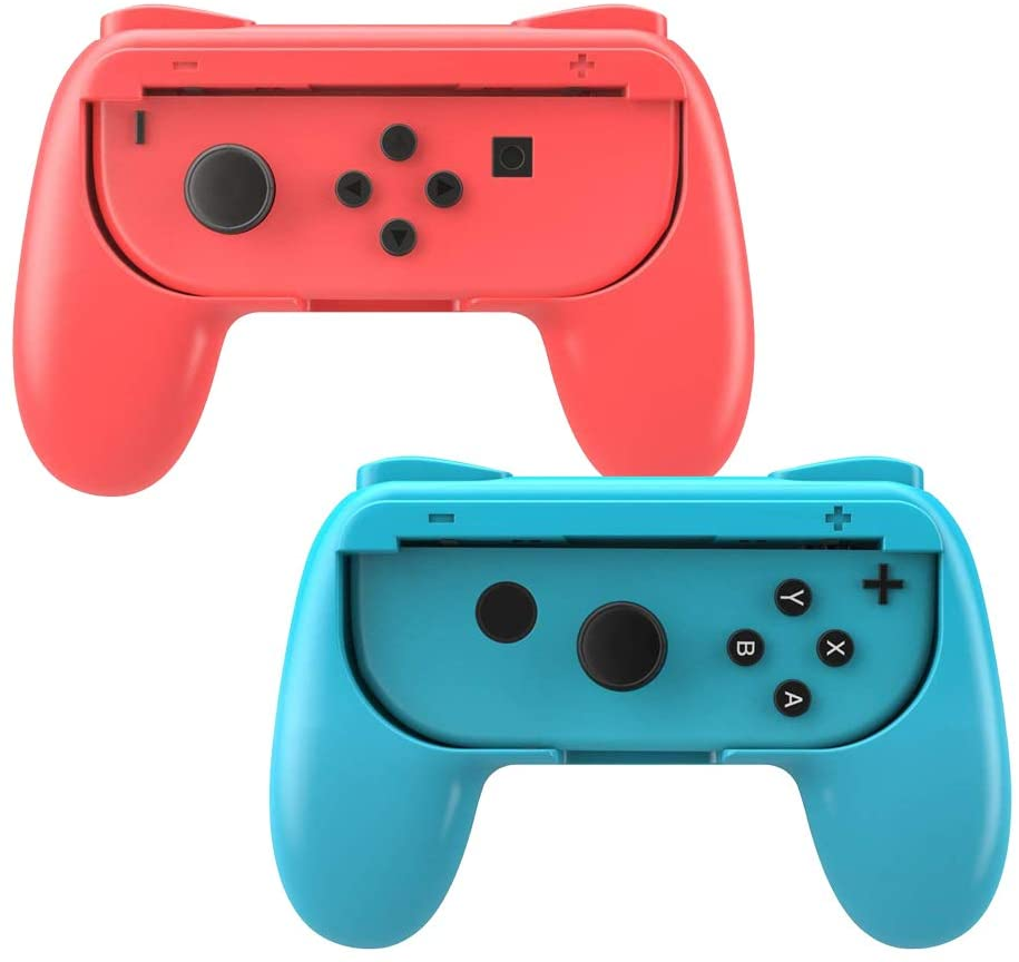 JYIN Grips for Nintendo Switch Joy-Con, Wear-Resistant Handle Kit for Switch Joy Cons Controller, 2 Pack (Blue Red)