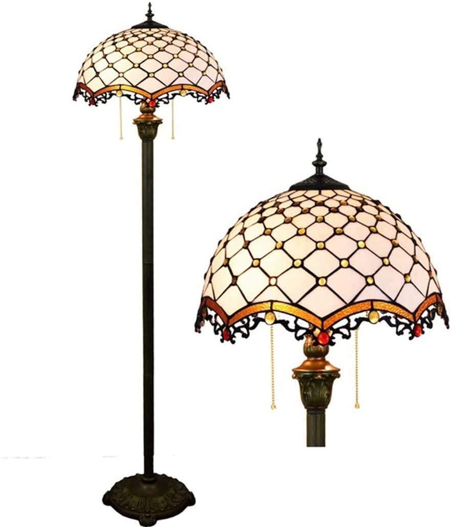 Modern Floor Lamp Room Light Tiffany Style Floor Lamp Modern Mediterranean Stained Glass Standing Reading Light Led Uplight 64 Inch Tall White Shade An Suit For Reading Diameter: 15.74, Hight: 64 XK