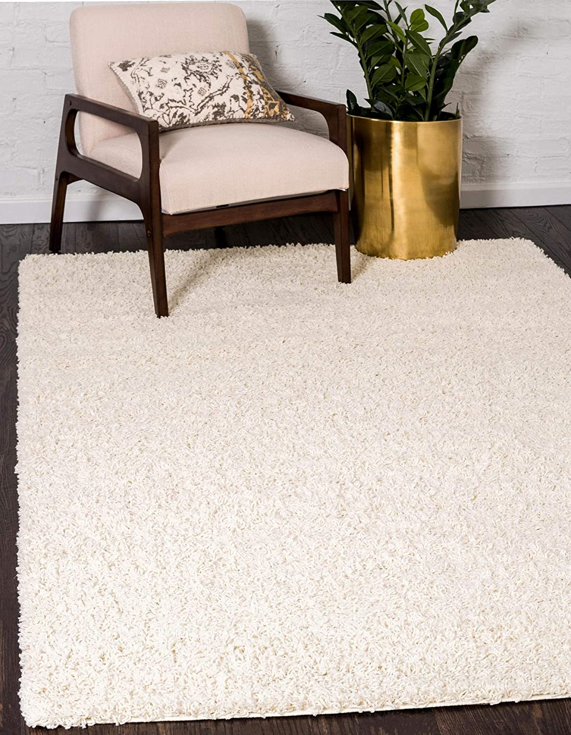 Unique Loom Solo Solid Shag Collection Modern Plush Pure Ivory Area Rug (5' 0 x 8' 0)