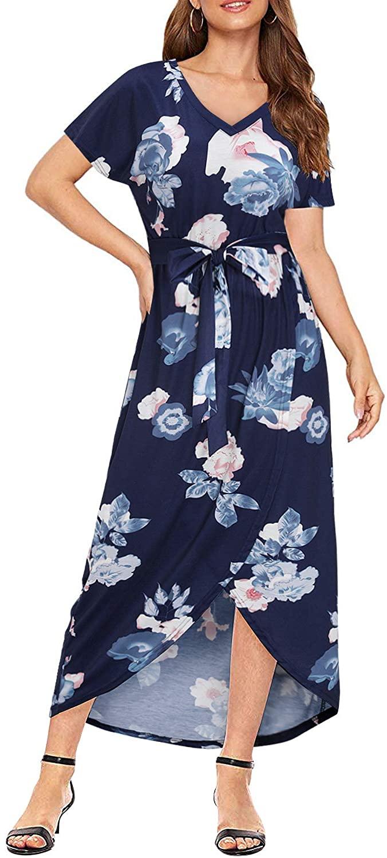 KILIG Women's V Neck Short Sleeve Summer Casual Sundress Floral Split Asymmetrical Long Maxi Dress with Belt